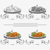 Set of different images of salmon. And dining items Stock Photos