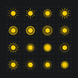 Set of different images of the sun, vector Royalty Free Stock Image