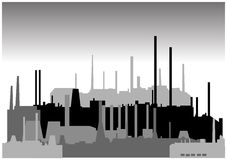 Set of different industrial buildings in vector Stock Photo