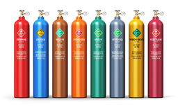 Set of different industrial liquefied gas containers Royalty Free Stock Image