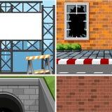 Set of different industrial scenes. Illustration vector illustration