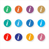Set of different information buttons for design. Info circle sym Royalty Free Stock Image