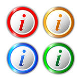 Set of different information buttons for design. Info round symb Royalty Free Stock Images