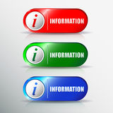Set of different information buttons for design. Info round symb Stock Photography