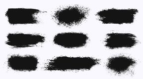 Set of different ink paint brush stroke banners isolated on white background. Grunge backgrounds. Vector illustration royalty free illustration