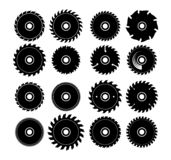 Set of different circular saw blades. Set of different isolated circular saw blades stock illustration