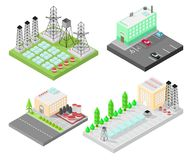 Set of different isometric buildings. Electric power station with power poles and batteries. Road, green bushes in front of house. Set of different  isometric Stock Image