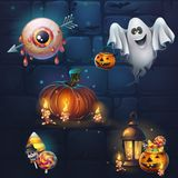 Set of different items for game user interface theme Halloween. Set of different items for game user interface. Vector background cartoon illustration to the Royalty Free Stock Photography
