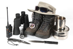 Set of different items for Hiking. The a set of different items for Hiking royalty free stock images