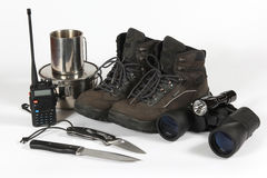 Set of different items for Hiking Royalty Free Stock Image