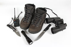 Set of different items for Hiking Royalty Free Stock Photography