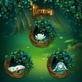 Set of different items for Shadowy forest GUI. Set of different items for game user interface. Vector background illustration screen to the computer game Shadowy royalty free illustration