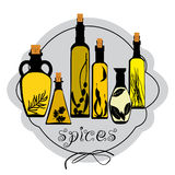 Set of different jars with spicy oils. Set of different jars with spicy colorful oils Stock Images