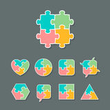 Set of different jigsaw puzzle piece shapes. Set of different shapes made of jigsaw puzzle pieces, design elements for your logo or icon, vector illustration stock illustration