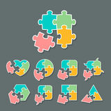 Set of different jigsaw puzzle piece shapes Stock Photos