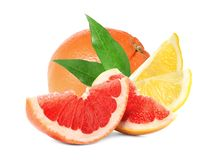 Set of different juicy citrus fruits. On white background stock photography