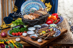 Set of different kebabs Stock Photos