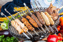 Set of different kebabs Stock Images