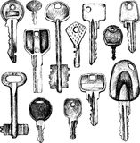 Set of different keys Royalty Free Stock Images