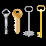 Set of different keys. Isolated objects. Vector Image. Set of different keys. Isolated objects. Vector illustration Stock Images