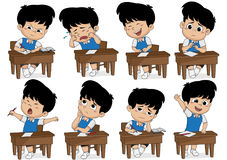Set of different kid learning pose.Boy crying,laughing,sad,sleep Stock Photos