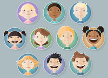 A set of different kids faces stock illustration
