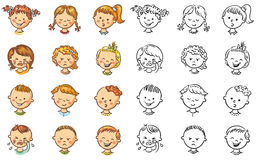 Set of different kids with various emotions Stock Images