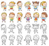 Set of different kids with various emotions. Both colorful and black and white vector illustration