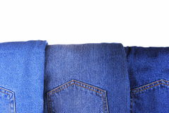 Set of different kind of blue jeans Stock Image
