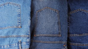 Set of different kind of blue jeans Royalty Free Stock Image