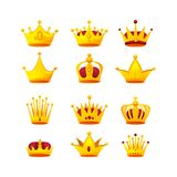 Set of different kinds of beautiful gold crowns. Set of different kinds of beautiful luxury gold crowns. Collection of crown awards for winners, leadership Stock Photography