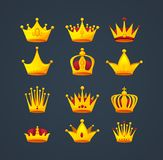 Set of different kinds of beautiful luxury gold crowns. Set kinds of beautiful luxury gold crowns. Collection crown awards for winners, leadership. Royal king Stock Photos