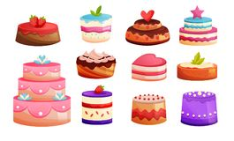 Set different kinds of cakes. Sweet baked desserts. Delicious food. Set of different kinds of cakes, with different texture, ornaments, fillings, candles and Royalty Free Stock Image