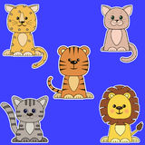 Set of different kinds of cats stickers. stock illustration