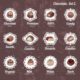 Set with different kinds of chocolate candies - milk,dark,white chocolate. Royalty Free Stock Photos