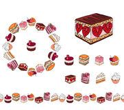 Set with different kinds of dessert. Stock Photography