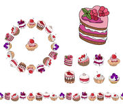 Set with different kinds of dessert. Stock Images