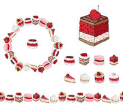 Set with different kinds of dessert. Royalty Free Stock Photography
