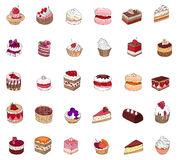Set with different kinds of dessert Stock Photography