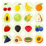 Set of different kinds of fruit icons. Stock Photo
