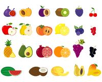 Set of fruits and vegetables icons. Set of different kinds of fruits icons. Collection of flat design icons presenting different types of fruits isolated on Stock Photography