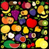 Set of fruits and vegetables icons. Set of different kinds of fruits icons. Collection of flat design icons presenting different types of fruits isolated on Stock Photo