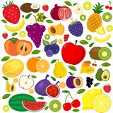 Set of fruits and vegetables icons. Set of different kinds of fruits icons. Collection of flat design icons presenting different types of fruits isolated on Royalty Free Stock Images