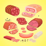 Set of different kinds of meat. Vector isolated sausege. Set of different kinds of meat. Vector isolated sausege Royalty Free Stock Photos