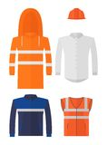 Set of different kinds protective work wear Royalty Free Stock Photography