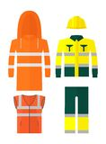 Set of different kinds protective work wear Royalty Free Stock Photos