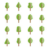 Set of different kinds of trees geometric icons Royalty Free Stock Photography
