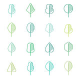 Set of different kinds of trees geometric icons Royalty Free Stock Image