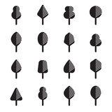 Set of different kinds of trees geometric icons Stock Images