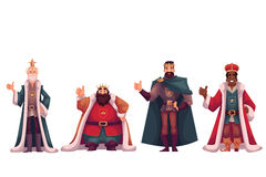 Set of different kings in crowns and mantles Royalty Free Stock Photo